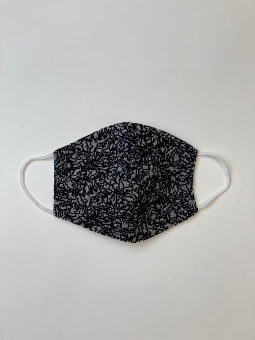 Mondkapje zwart grijs print-Label-L